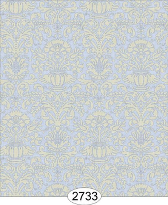 Dollhouse Wallpaper 1:12 Annabelle Mini Reverse Damask Yellow Ivory
