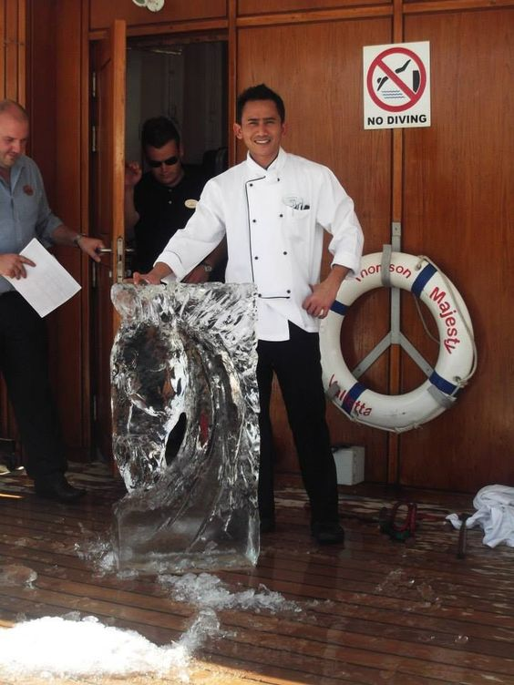 On board staff carving ice :) so clever