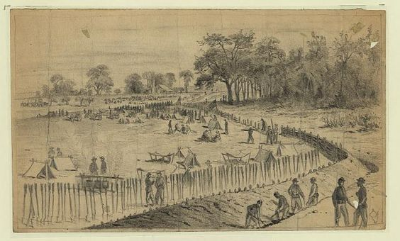 The battle of Cold Harbor, throwing up breastworks
