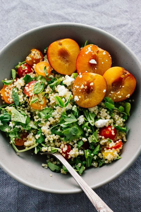 Cherry Plum & Goat Cheese Summer Salad! Vegetarian, gluten free, healthy, quick and easy! ;)