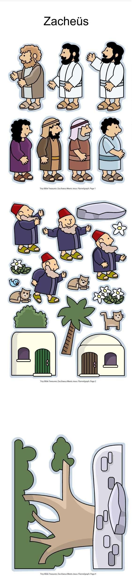 Zacheüs, flanelplaten voor kleuters, kleuteridee.nl , Zacchaeus, Flannel Bible Sheets, free printable 1:
