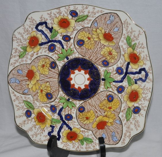 """Royal Staffordshire Cairo Plate 9"""" Square England Handpainted Floral 8920"""