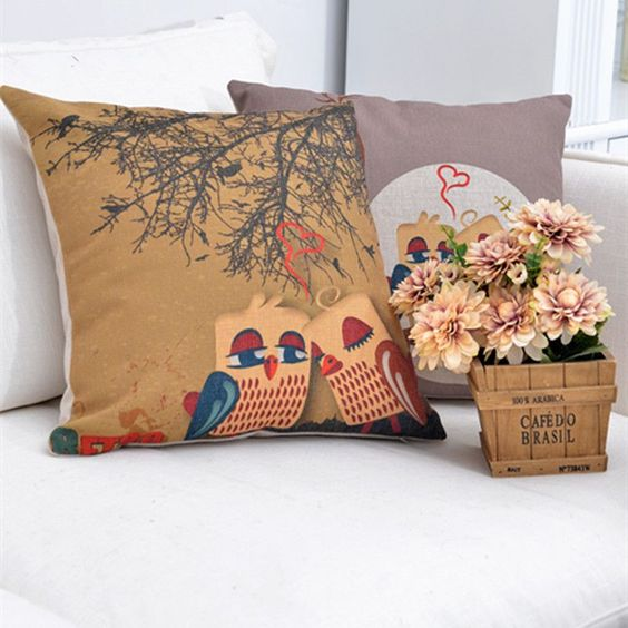 cotton Owl pillow cover Home Car Sofa