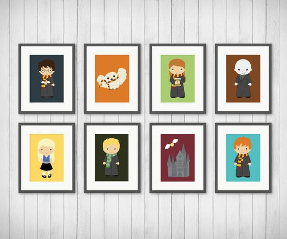 kids room decor - potter prints - potter fan - bedroom art