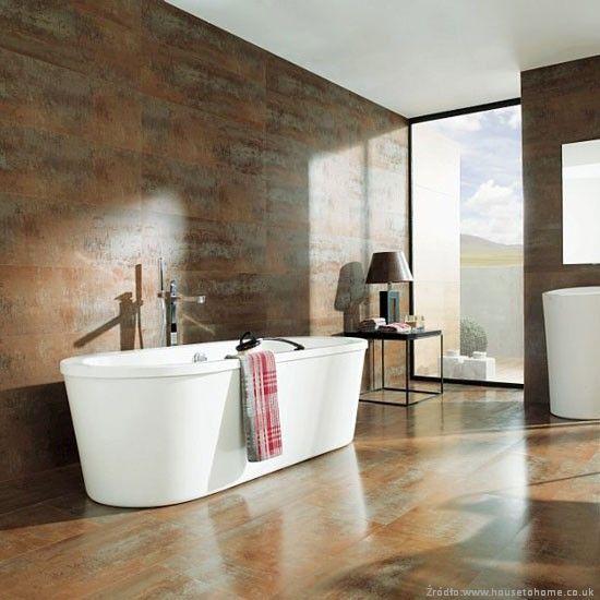 Plytki O Metalicznej Strukturze Oryginalne I Nietypowe Aranzacje Lazienek Lazienki Projekty Zd Metallic Tiles Bathroom Tile Bathroom Brown Tile Bathroom