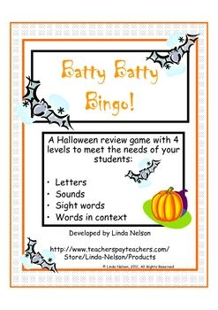 batty batty bingo letter sound word game for halloween - Halloween Word Game