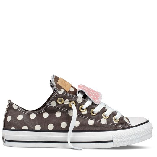 My favorite converse :)! Cute white polka dots with vintage leather natural looking logo and touch of pink with double tounge. ❤