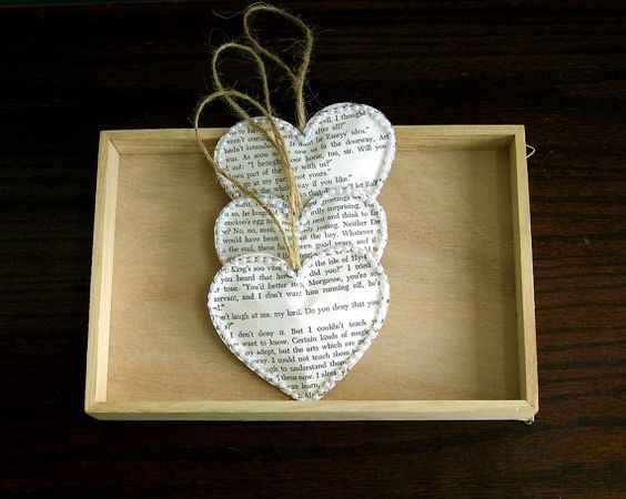 vintage book paper heart ornaments 100 hearts vintage wedding decoration christmas wedding - Book Page Decorations