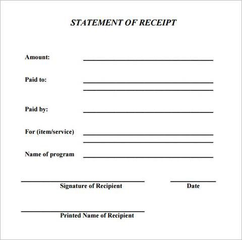 Receipt For Work Completed Template