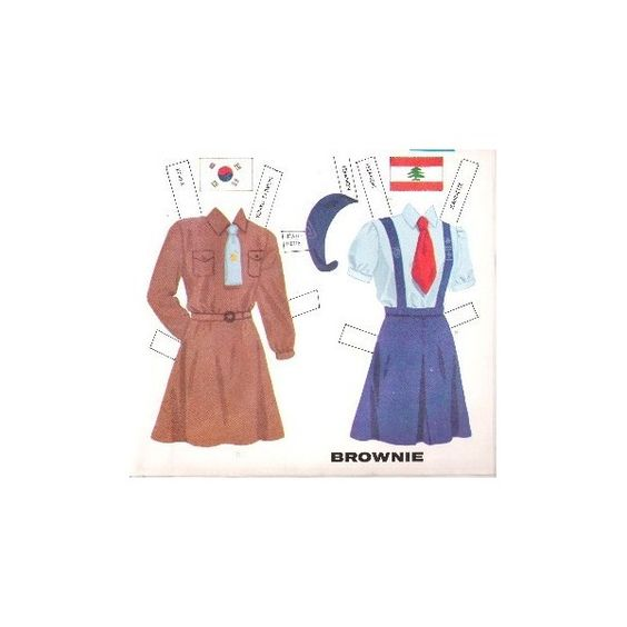 1950s BROWNIE Girl Scout Paper Doll Uniforms Around the World 6 of 9