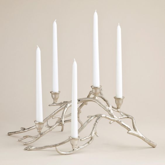 Silver twig taper candle centerpiece candles