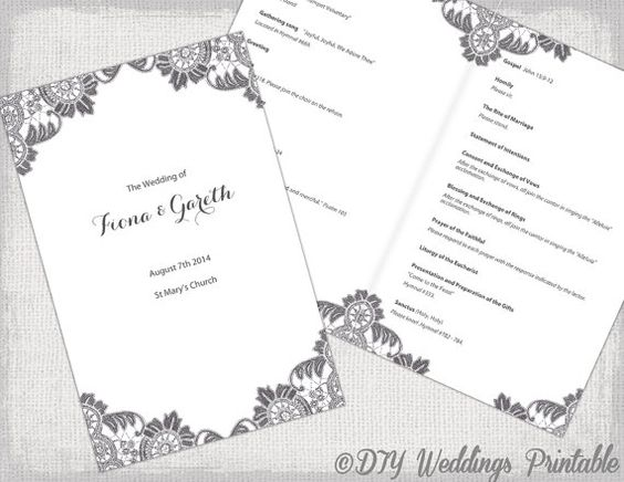 Diy catholic wedding program template charcoal gray for Catholic wedding mass booklet template