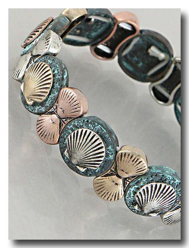 Sea Shell Rose and Blue Stretch Bracelet Beach Summer Tropical US Seller #DaVinci