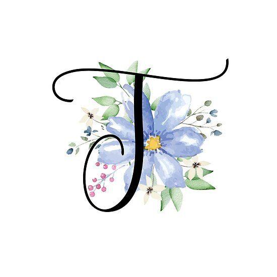 Monogram T Beautiful Watercolor Blue Flower Sticker By Floralmonogram In 2021 Blue Flowers Watercolor Flowers Monogram