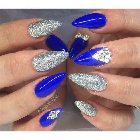 Beautiful-Blue-And-Silver-Nail-Art-With-Rhinestones-Design-Idea.jpg (490×490)