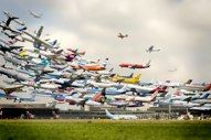 Takeoffs at Hannover Airport. (multiple exposure shot with DSLR): Multiple Exposure, Airplane, Striking Multiple, Multiple Takeoff