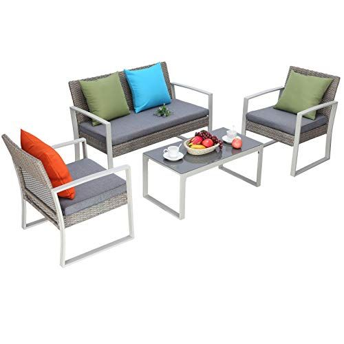 Do4u 4 Pcs Outdoor Patio Furniture Conversation Set Cushioned Pe