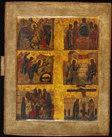 """Six Days """"Shestodnev"""" icon, Novgorod, 16th century"""