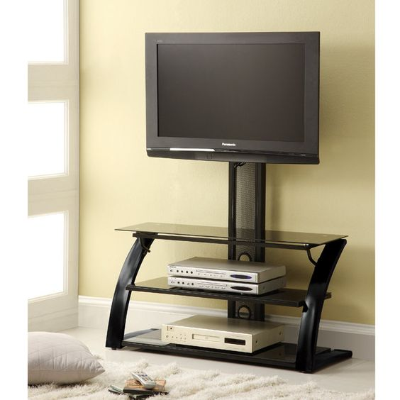 contemporary 3 tier arch l shaped legs tv stand with hanging support bedroom pinterest tv. Black Bedroom Furniture Sets. Home Design Ideas