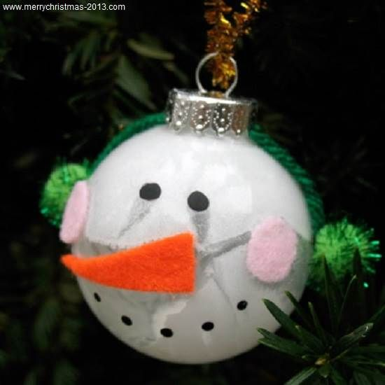 Cute Snowman Ball Christmas Ornament Crafts For Kids