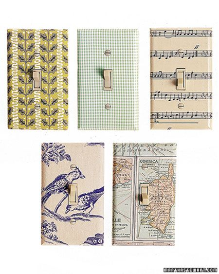 Cover a boring (cheap) light switch plate with a fun fabric, paper, or wallpaper. Let Martha show you how it's done!