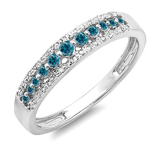 0.25 Carat (ctw) 14K White Gold Round Blue & White Diamond Ladies Wedding Band Ring 1/4 CT (Size 7.5). Other ring sizes may be shipped sooner. Most rings can be resized. Items is smaller than what appears in photo. Photo enlarged to show detail. Satisfaction Guaranteed. Return or exchange any order within 30 days. All our diamonds are conflict free. Gemstone : Diamond.