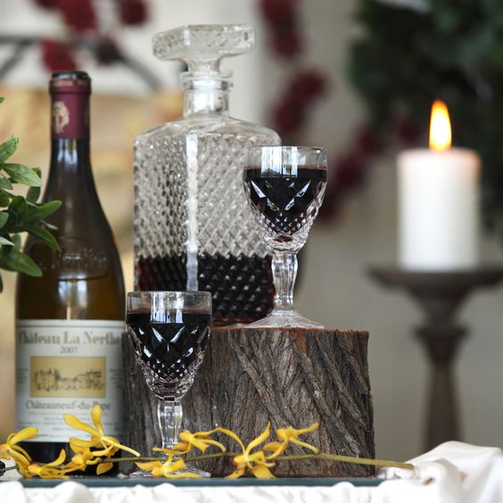 Chic Rustique Wedding Hire and Styling Products ~ www.chicrustique.com.au ~Vintage Decanter ~ Crystal Wine Decanter ~ Crystal Wine Goblet ~ Vintage Wine Glass~