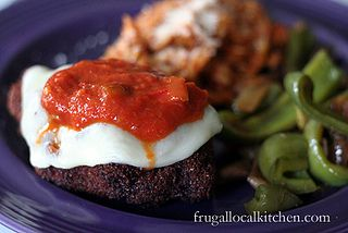 Pan-fried Eggplant and Tomato with Melted Provolone and Rose Romano Marinara Sauce with Green Peppers via @Barb @ A Life in Balance