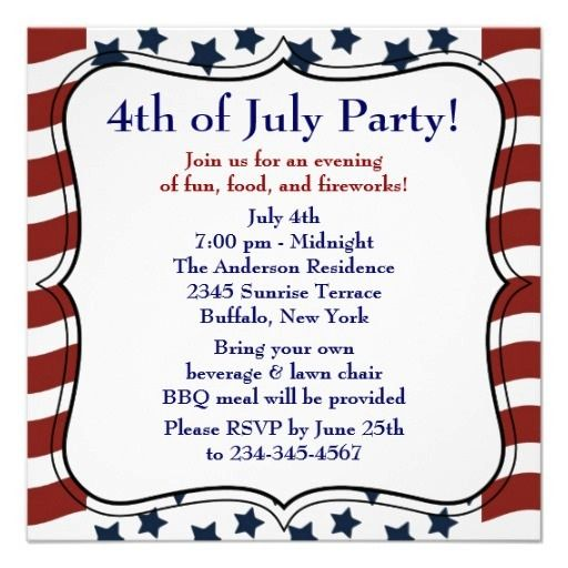 Here You Will Get Template Sample Of 4th Of July Invitation Card