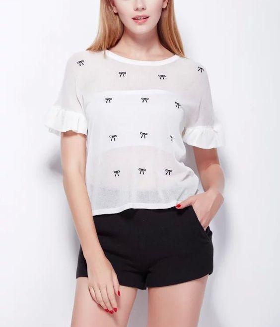 Encontre mais Pulôvers Informações sobre Lj55 moda feminina bordado arco branco malha blusa em torno do pescoço manga plissado Camisas Casual marca Camisas Femininas, de alta qualidade Pulôvers de IDOL Fashion (offer Drop shipping)   em Aliexpress.com