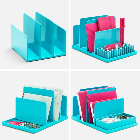 Poppin aqua fin file sorter desk accessories cool and for Modern office decor accessories