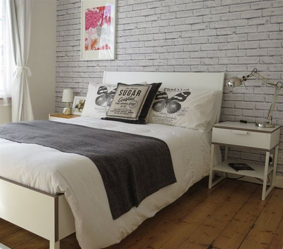 Love the brick wallpaper behind anna 39 s trysil bed at for Grey brick wallpaper bedroom