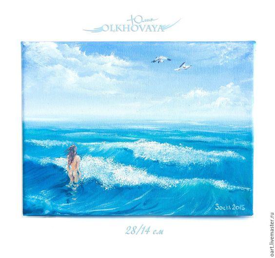 Купить Девушка и Море. Картина маслом. Ню. Морской стиль. - море, свобода, бирюзовый, голубой