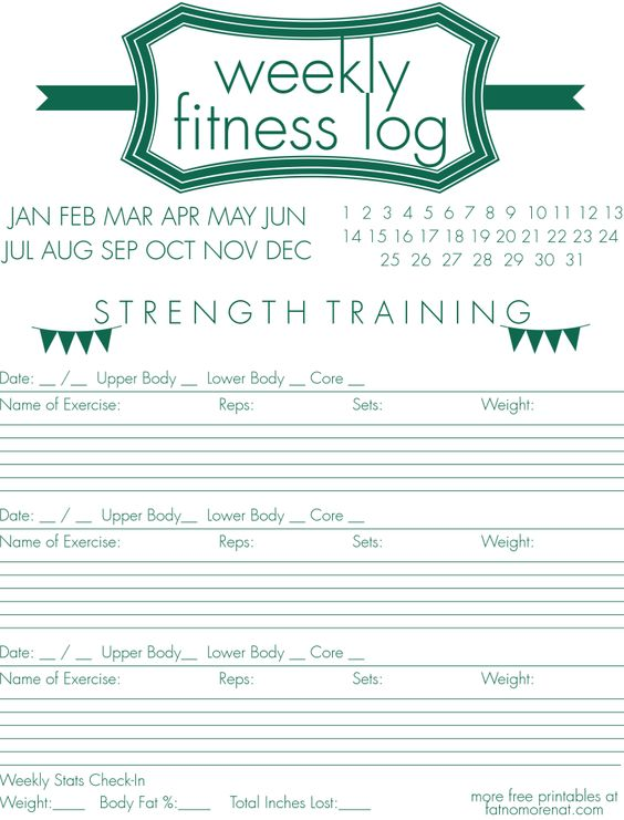 weekly fitness strength training log by free printables pinterest. Black Bedroom Furniture Sets. Home Design Ideas