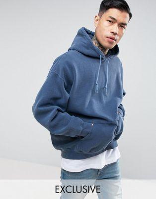Large Reclaimed Vintage Inspired Oversized Hoodie In Navy Overdye Vintage Hoodies Mens Pants Fashion Mens Sweatshirts Hoodie