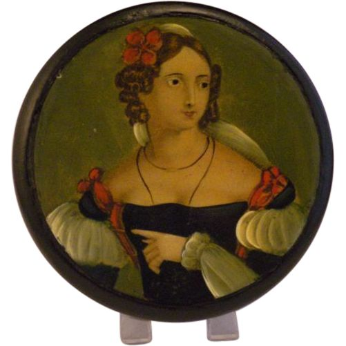 Georgian Papier Mache Georgian Portrait Table Snuff Box Stobwasser from cambridge-antiques on Ruby Lane