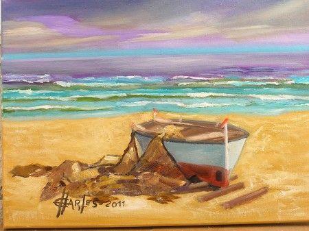Cuadro al leo de bote en la playa marinas pinterest leo - Cuadros hechos con piedras de playa ...
