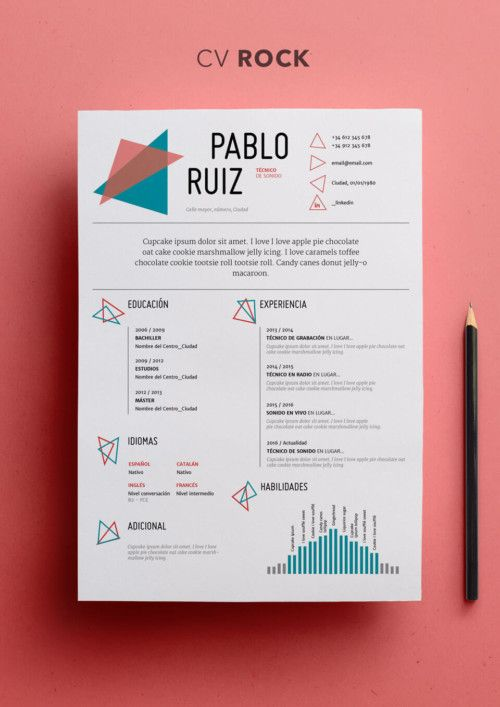 Curriculum Vitae Modelo Rock Shop Cv Graphic Design Resume Graphic Design Cv Resume Design Template