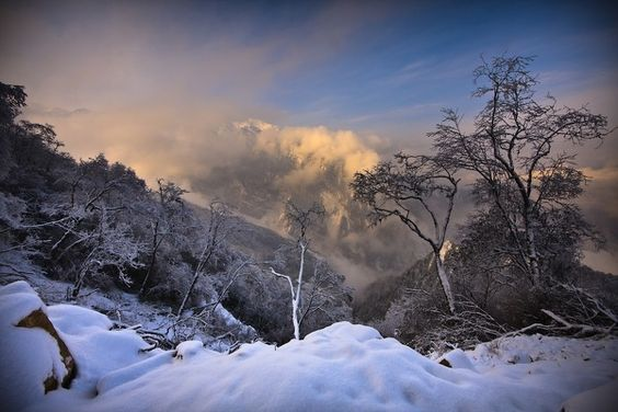 Early snow in the Tibetan mountains.