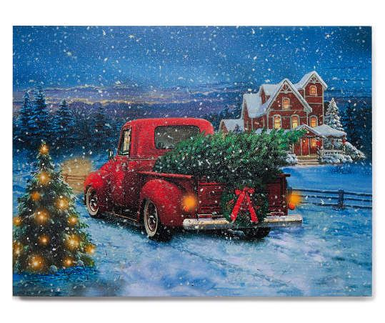 Winter Wonder Lane Led Sound Winter Truck Scene Canvas Big Lots Winter Scenes To Paint Winter Truck Picture Frame Hangers