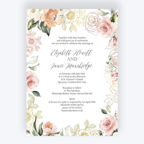 White Blush Rose Gold Floral Wedding Invitation Rose Gold Invitations Rose Gold Wedding Invitations Floral Wedding Invitations