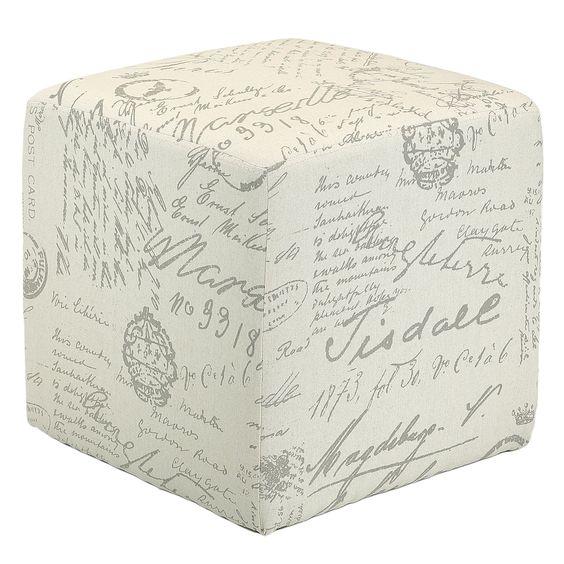 Amazon.com - Cortesi Home CH-OT258670 Braque Cube Ottoman in Linen Script Print Fabic, Beige -