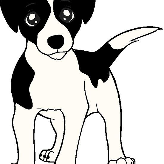 Russell Terrier White With Black Markings Cartoon Dog Pattern Terrier Jack Russell Terrier