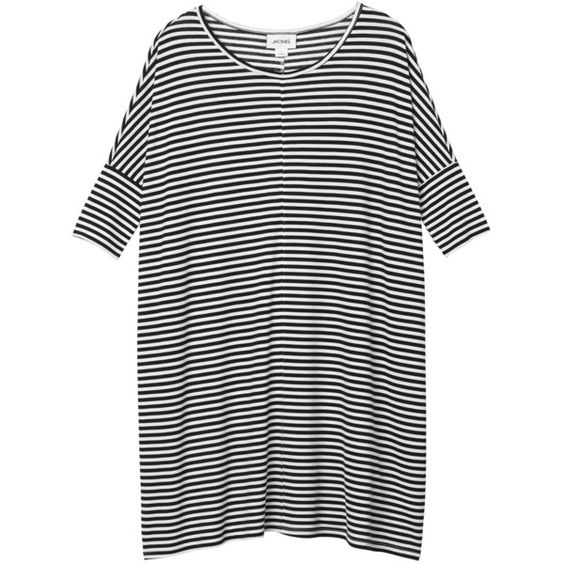 Monki Jonna dress ($28) found on Polyvore featuring dresses, tops, shirts, sleek stripes, sleeve dress, striped dress, stripe dress and monki