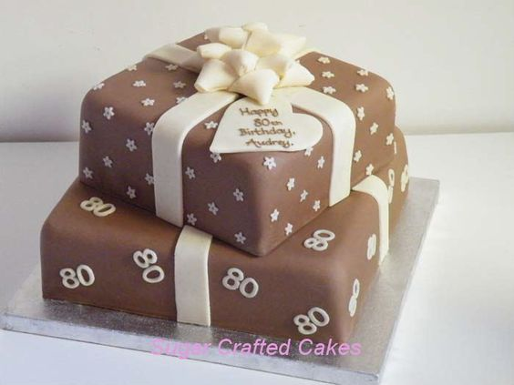 Square Chocolate presents 80th birthday cake - suitable for males