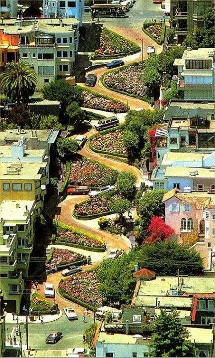 Don't worry -- our #eBayNow #flower delivery trucks won't get stuck on one of those crazy curves. 1960s Lombard Street, San Francisco - the crookedest street in the world