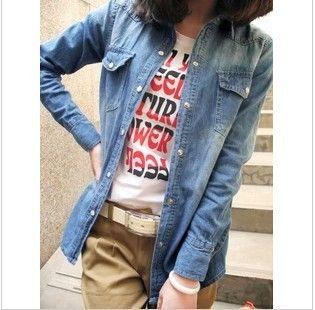 """Mulheres Primavera Fina Denim Casual Shirt Senhora Jeans Blusa feminina de algodão puro """"Denim Shirts / mangas compridas Jeans Blusas C1028 $23.39"""
