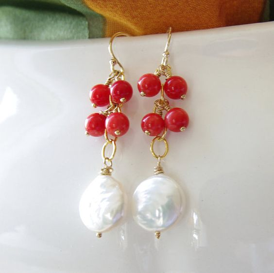 Coral Pearl Jewelry Dangle Earrings Coin Pearl Red by JewelryBySS