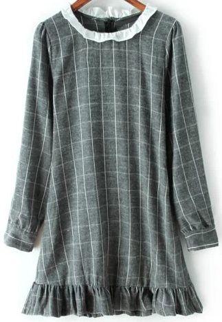 Grey Ruffle Plaid Bandage Dress - abaday.com