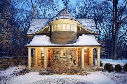 Carriage house house shingles and house on pinterest for Home plans with turrets